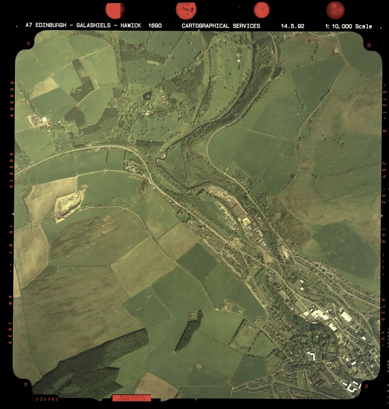 Vertical aerial view showing the N part of Galashiels and Torwoodlee House.  Also visible is the course of The Waverley Line.