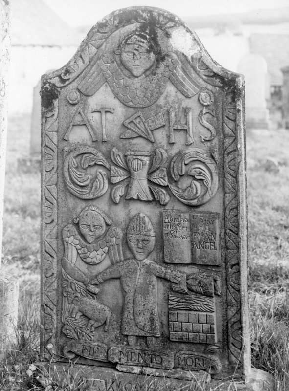 Scanned image of Grandtully, St Mary's  Chapel. General view of gravestone with winged soulabove initials: 'AT HS', sock and coulter of the plough, heraldic device, and scene of Abraham and Isaac.