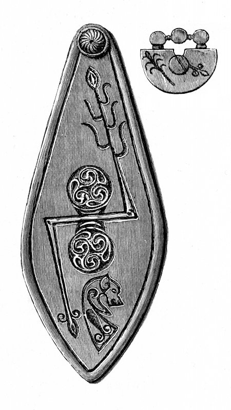 Digital image of engraving of plaque and pin-head from Norrie's Law. Proc Soc Antiq Scot, vi (1864-6), pl.1.