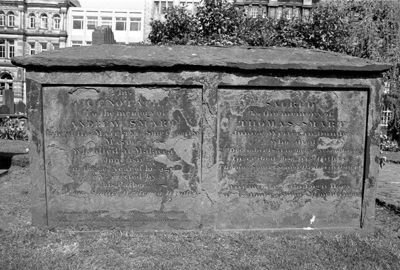 Scanned image of Dundee, Barrack Street, The Howff. General view of the chest tomb of Andrew Smart, 1811. Insc: 'This Cenotaph To the memory of Andrew Smart late of His Majestys Ship Caroline. Master, who  died at Malacca, June 1811 in the 30th year of his age was erected by his Father, Thomas Smart, Writer in Dundee'.