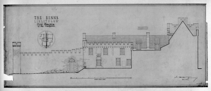 Scanned image of drawing showing key plan and E elevation of courtyard.