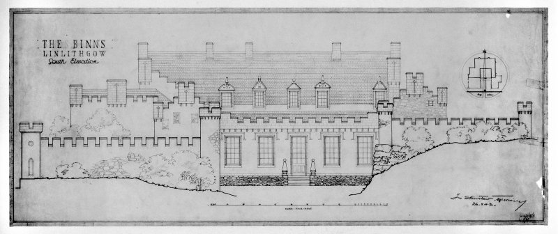 Scanned image of drawing showing key plan and S elevation.