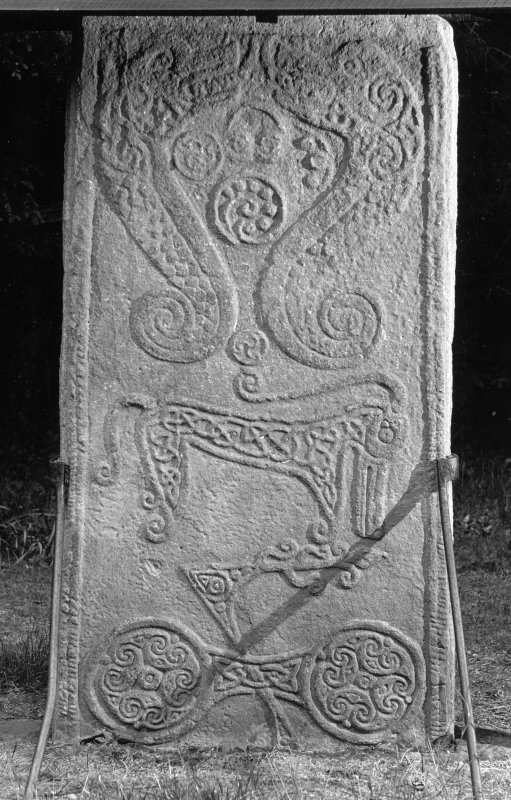 View of the reverse of the Rodney Stone Pictish cross slab, Brodie.