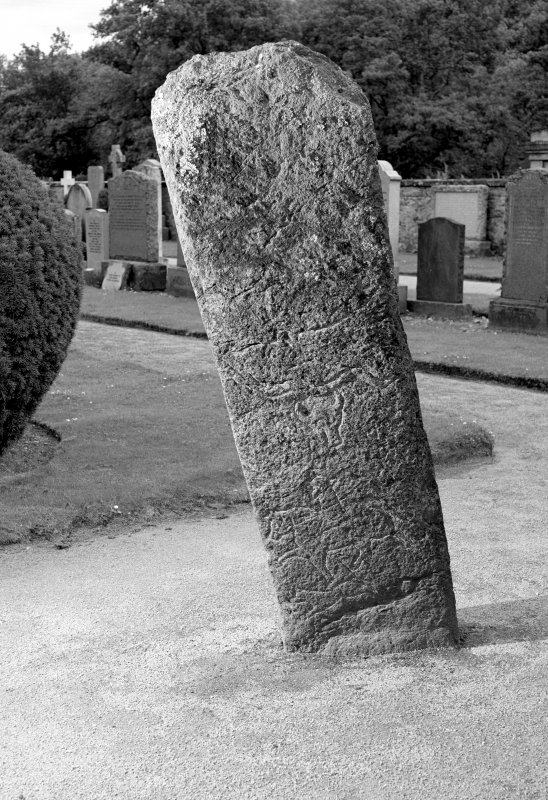 View of reverse of the Mortlach Battle Stone, Pictish cross slab