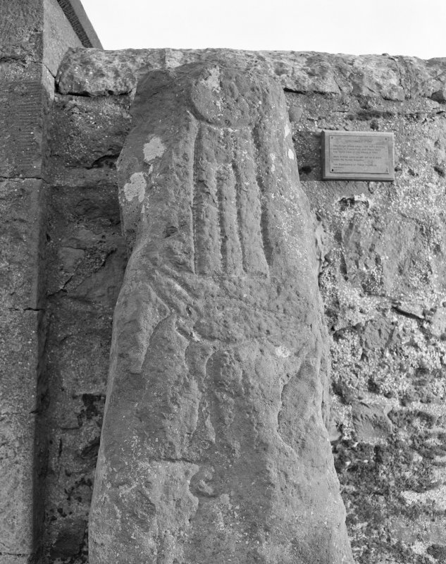 View of face of Strathmiglo Stone, Pictish symbol stone.