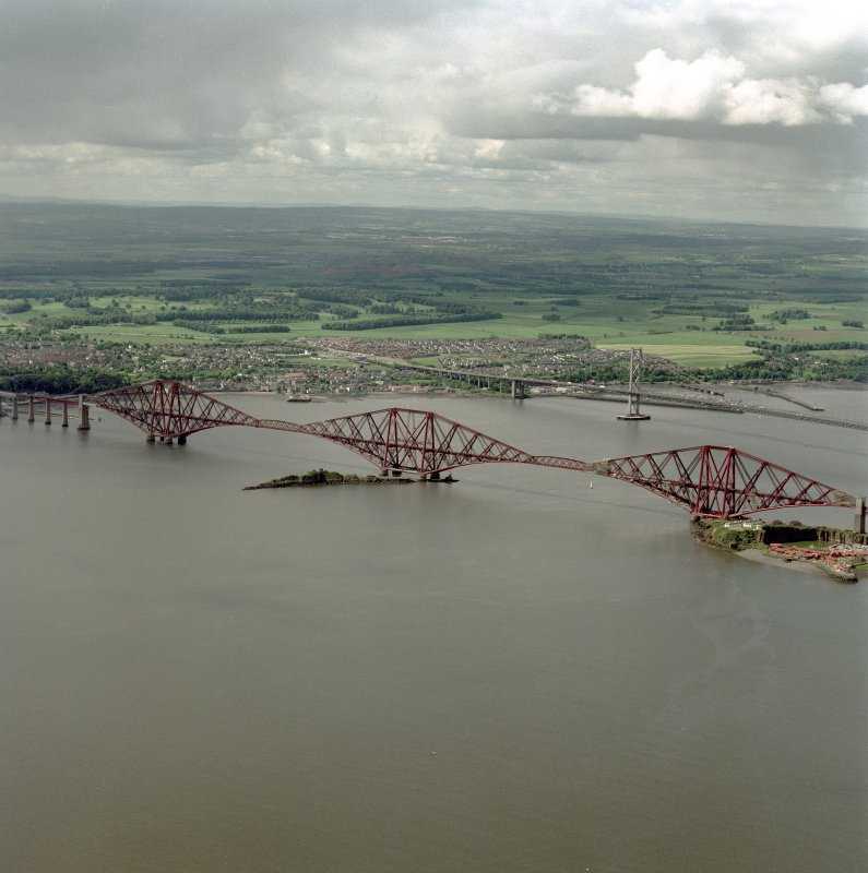 Scanned image of oblique aerial view of the Forth Bridge and the Forth Road Bridge, taken from the ENE.