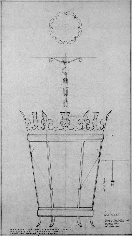 "Plan and elevation drawings of a proposed lantern for Holyrood Palace.  Inscribed: ""Palace of Hlyroodhouse. Proposed Lantern for King's and Queen's Staircases""."
