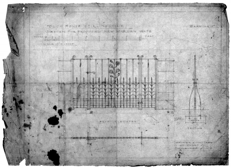 "Front elevation, section and plan. Inscribed: ""Design for Proposed New Garden Gate""."