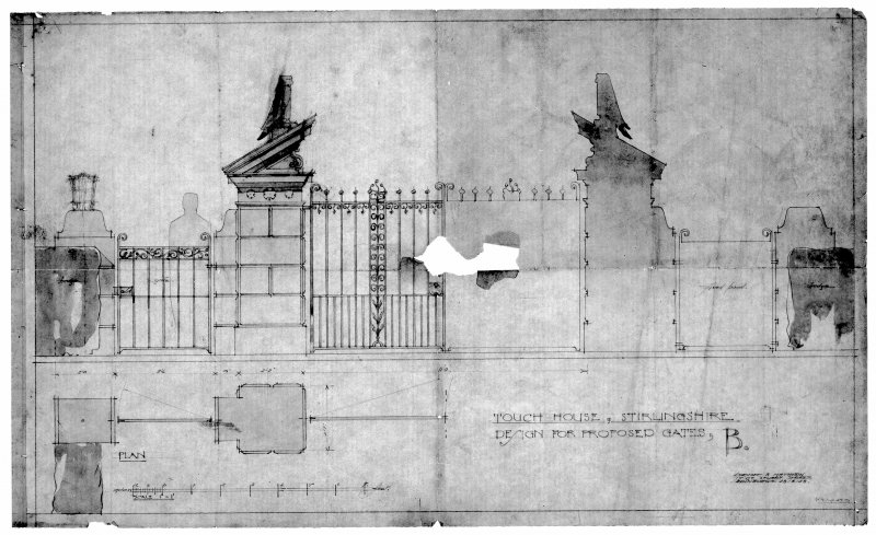 "Elevation and plan drawings. Inscribed: ""Touch House, Stirlingshire. Design for Proposed Gates, B ""."