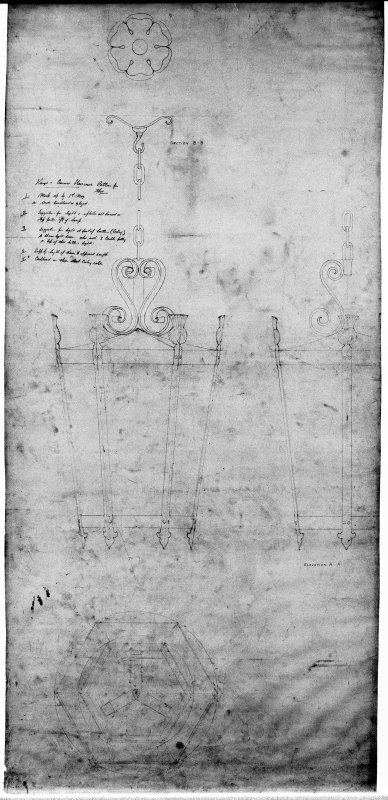 Plan and elevation drawings of proposed lantern.