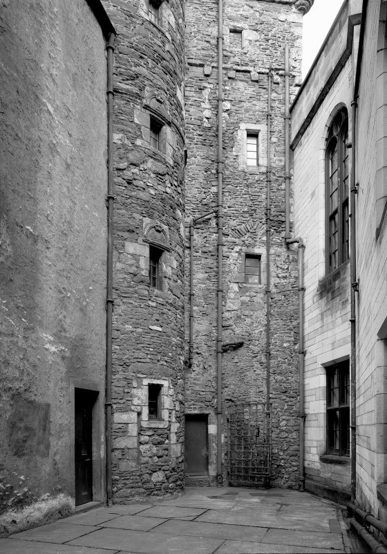 Scanned image of staircase tower and keep from South court