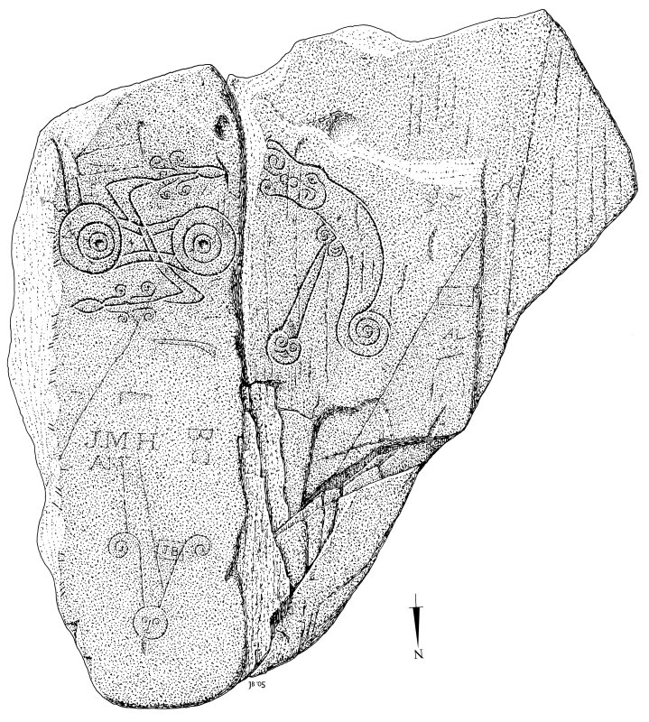 Scanned ink drawing of Trusty's Hill rock-carved Pictish symbols.