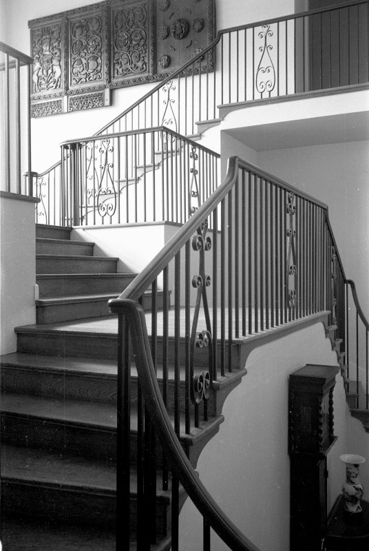 Interior view of Newton Don House showing detail of balustrade in staircase hall