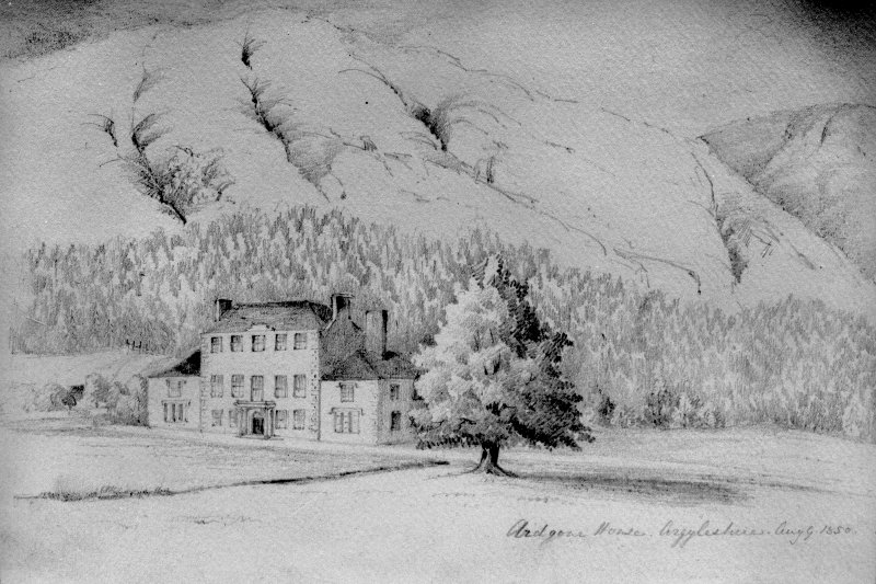Scanned image of photographic copy of sketch showing Ardgour House, front elevation and its setting, inscr; 'Ardgour House, Argyleshire, Aug 9. 1850.'