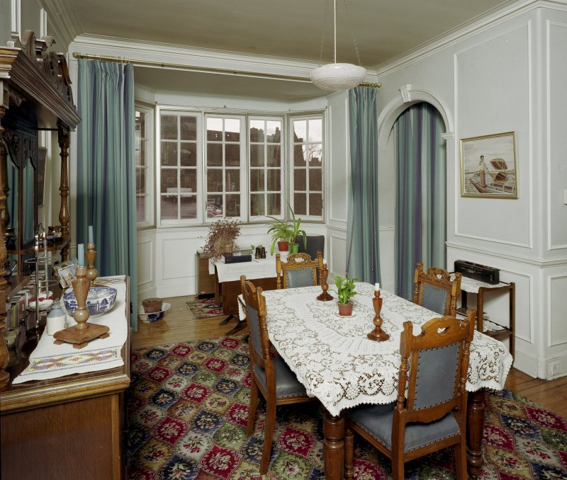 Scanned image of interior-view of original Bedroom (now Dining Room) from East.