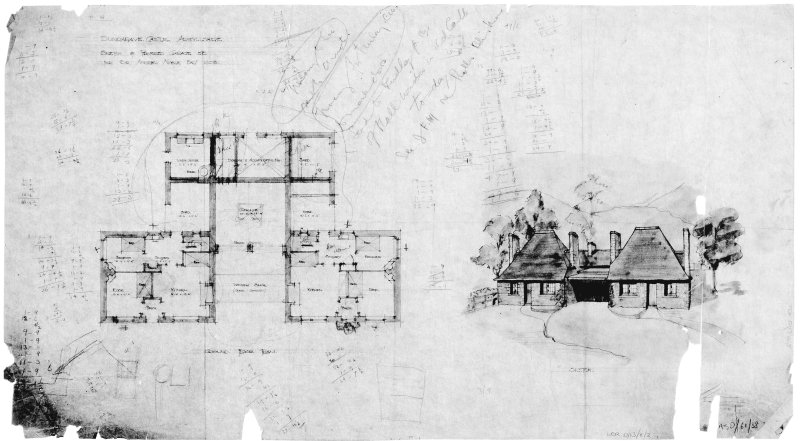 Cottage and garage. Scanned image of drawing of sketch of ground floor plan and perspective.