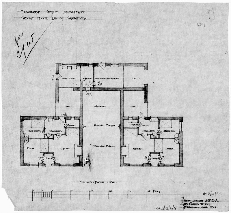Garage and cottage. Scanned image of drawing of ground floor plan.