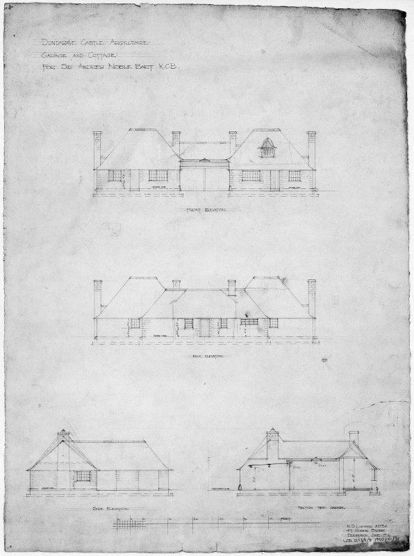 Cottage and garage. Scanned image of drawing of front, back and side elevations of garage and cottage.