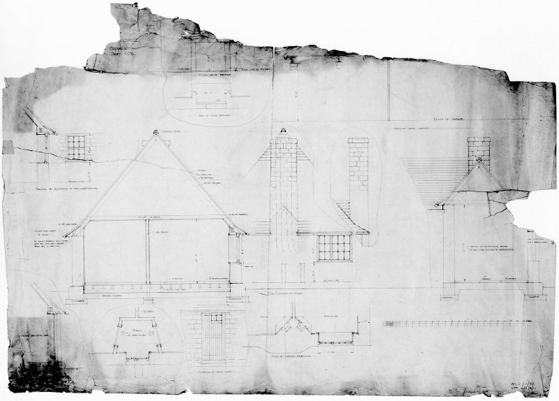 Garage and cottage. Scanned image of drawing of sections.