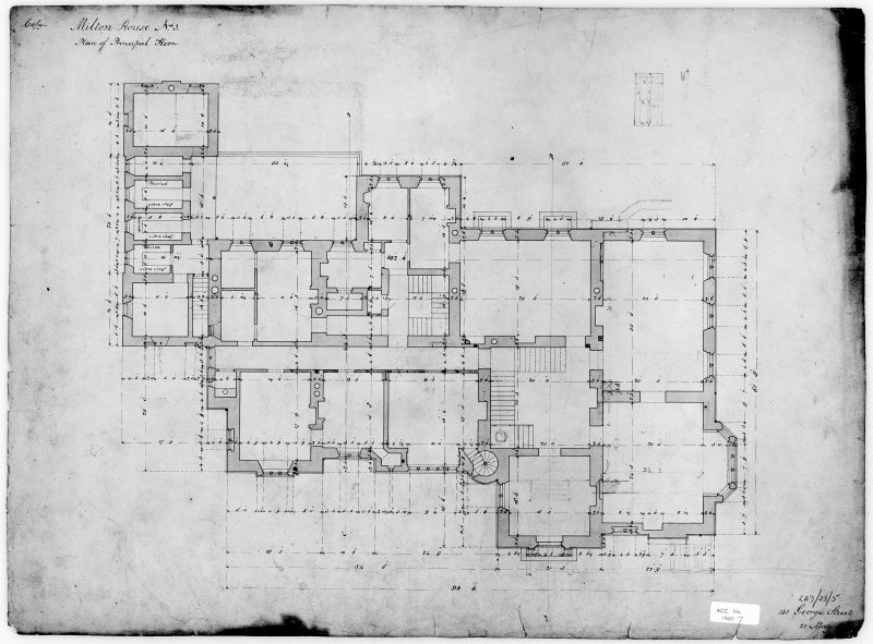 Scanned image of photographic copy of drawing showing plan of principal floor.