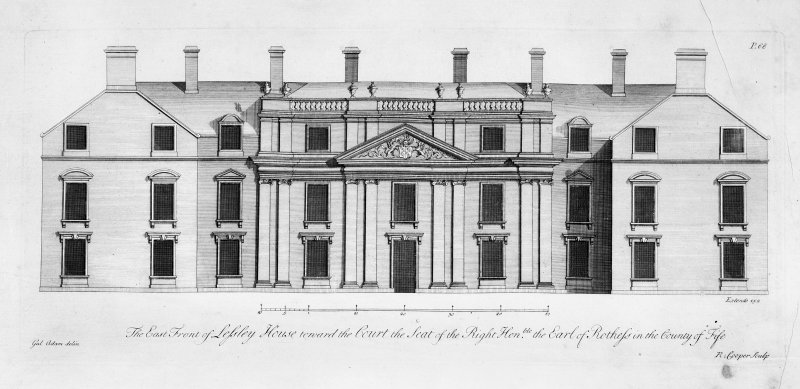 Scanned image of copy of engraving of East front to court.