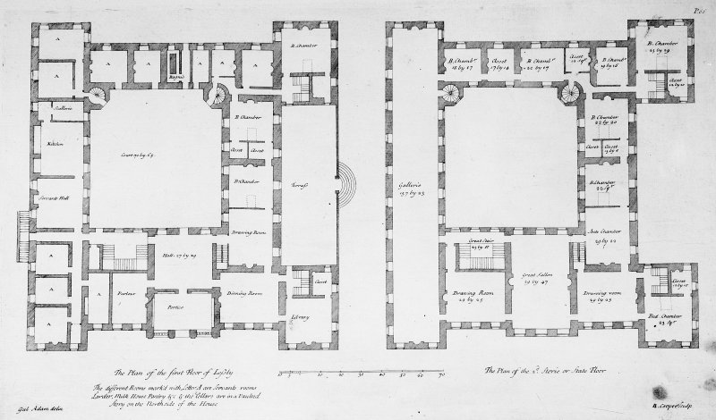 Scanned image of copy of engraving of first and state floor plans.