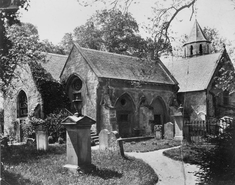 Historic photograph showing general view of church.