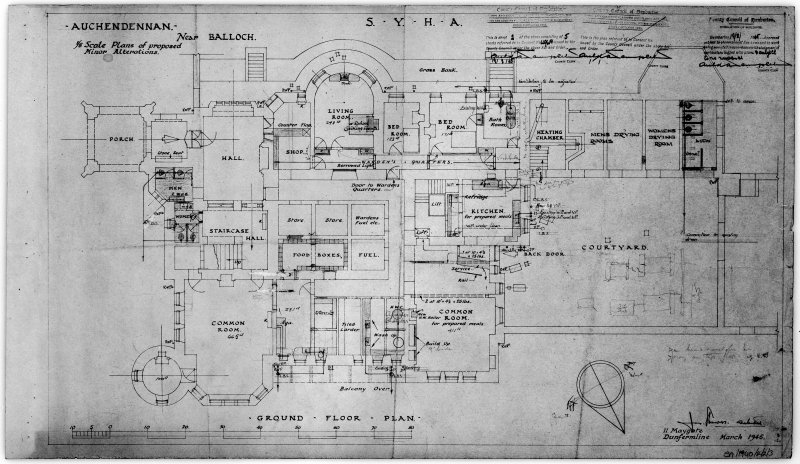Scanned image of drawing showing ground floor plan with proposed alterations.