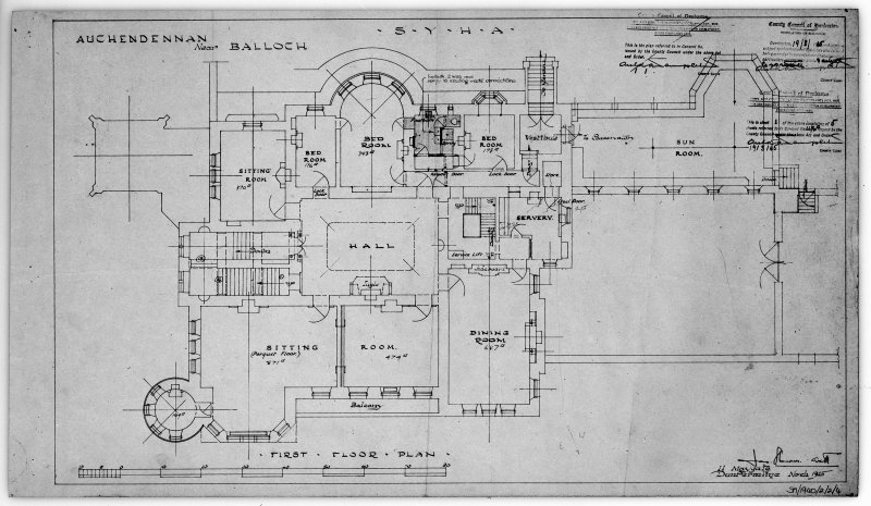 Scanned image of drawing showing first floor plan.