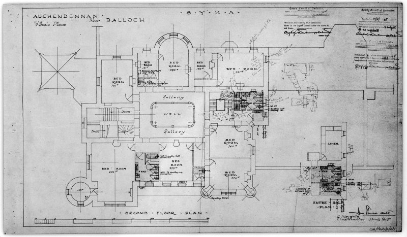 Scanned image of drawing showing second floor plan.