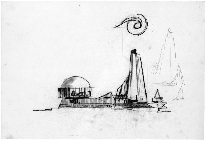 Sketch elevation of proposed design for the British pavilion at Expo '67.