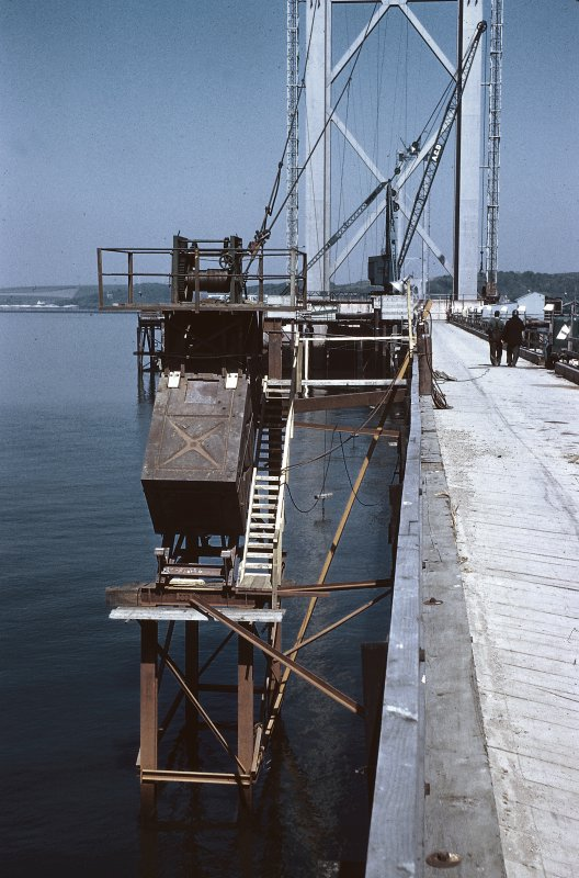 Aerodynamic damping device fro South Main Tower, supported on piles, west side of south viaduct. Copy of original 35mm colour transparency Survey of Private Collection
