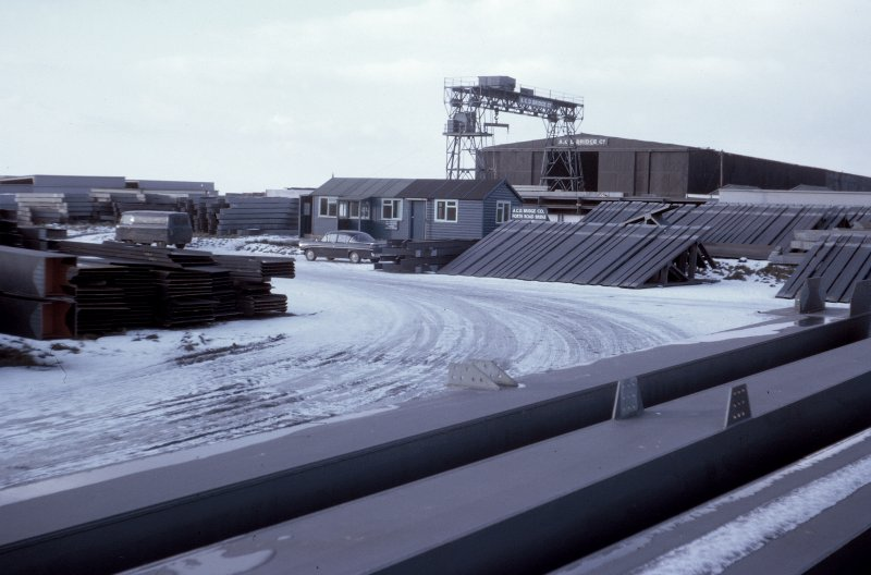 Steelwork storage area at Drem Airfield, East Lothian, under wintry conditions. Copy of original 35mm colour transparency Survey of Private Collection
