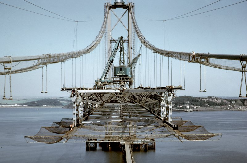 Suspended structure in south side span showing safety net carriage and nets. View north from south side tower. Copy of original 35mm colour transparency Survey of Private Collection