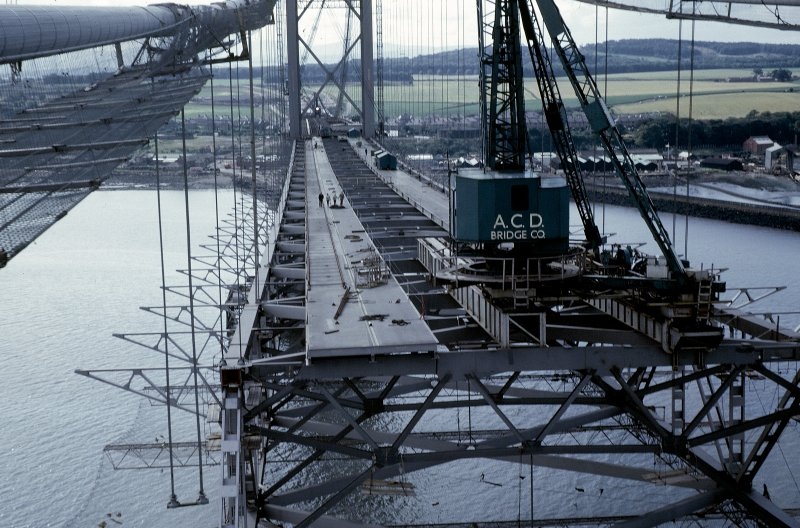General view of erection of the south section of main span suspended structure. View north from mid-span. Copy of original 35mm colour transparency. Survey of Private Collection