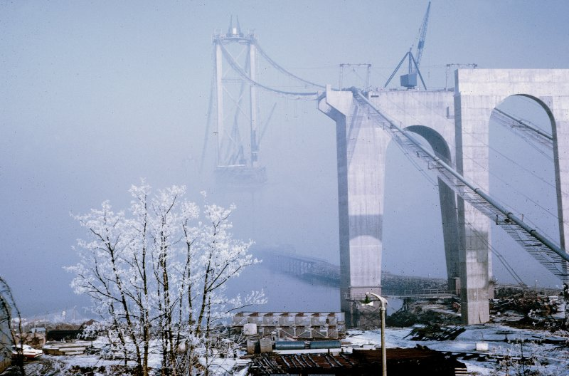 Forth Road Bridge and south working area in the snow.
