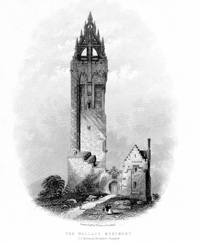 Scanned image of engraving showing general view. Insc: 'The Wallace Monument'.
