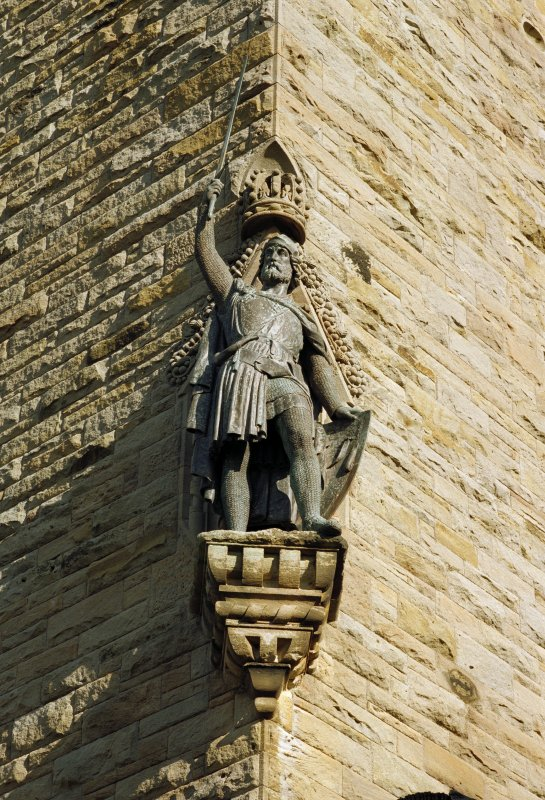 View of statue of Wallace at south west corner of tower