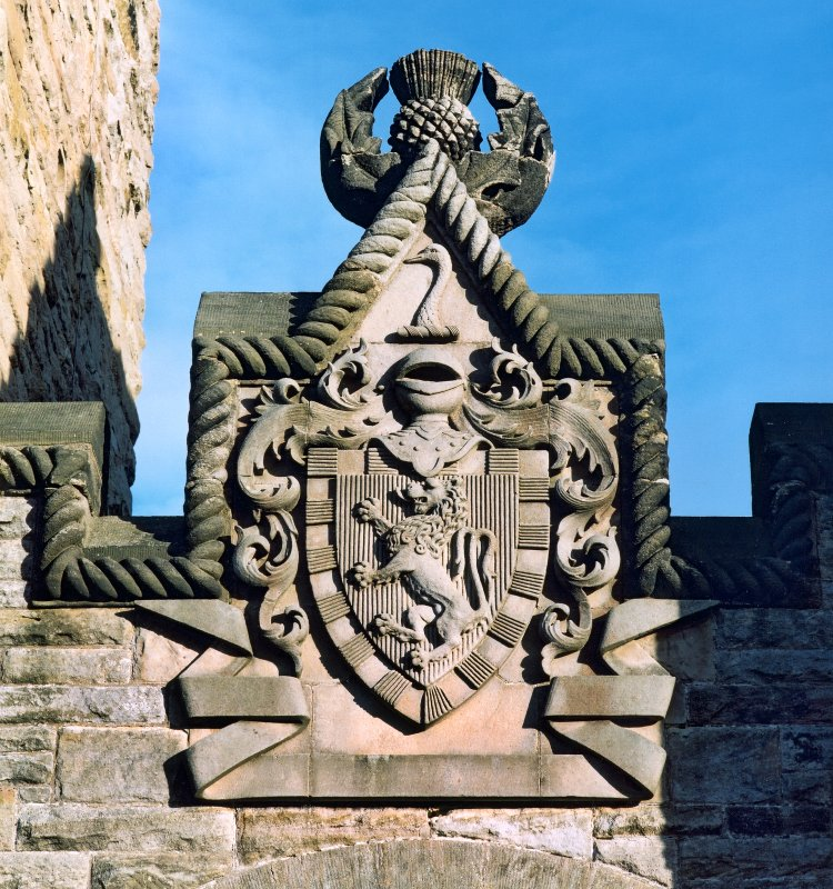 Detail of armorial above main entrance, Wallace Monument, Abbey Craig, Stirling.