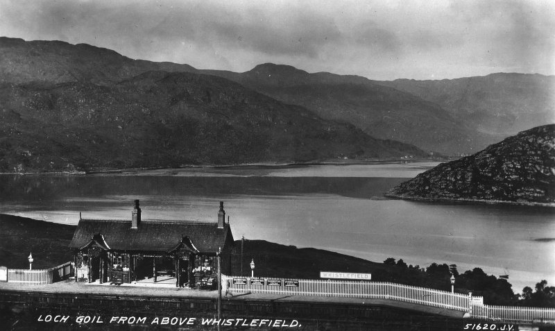 Scanned image of general view of Whistlefield Railway Station and Loch Long.