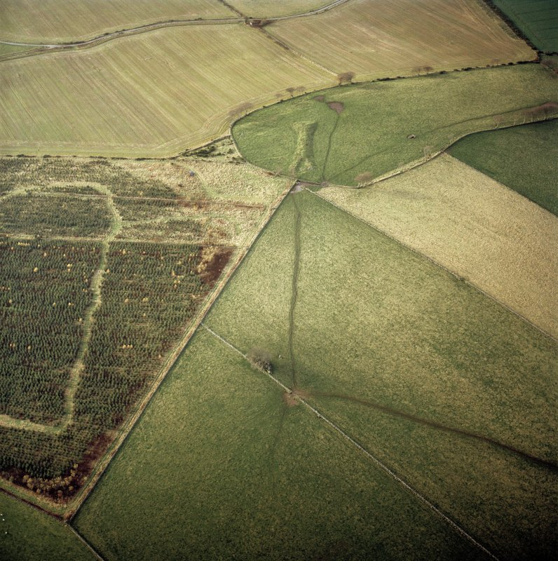 Oblique aerial view centred on the remains of the recumbent stone circle with the remains of the long cairn and rig adjacent, taken from the ESE.