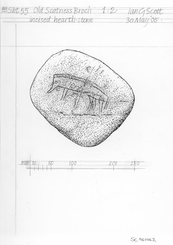 Digital copy of scale drawing of boar-incised hearth-stone.
