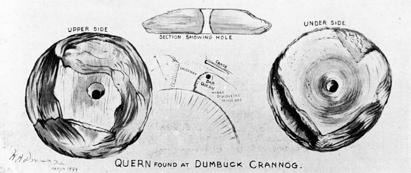 Dumbuck crannog excavation Titled: 'Quern found at Dumbuck Crannog'