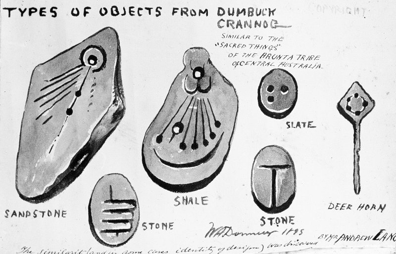 Dumbuck crannog excavation Titled: 'Types of objects from Dumbuck Crannog'