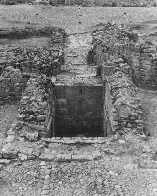 View of the gatehouse pit under excavation by M Apted in 1955.