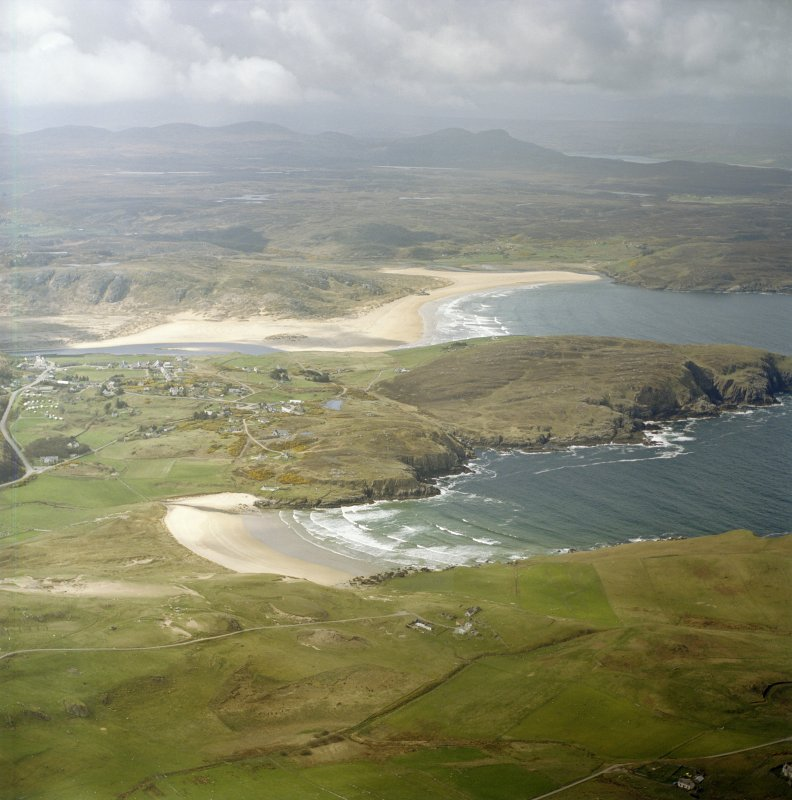 Oblique aerial view centred on the village of Bettyhill, taken from the NE.