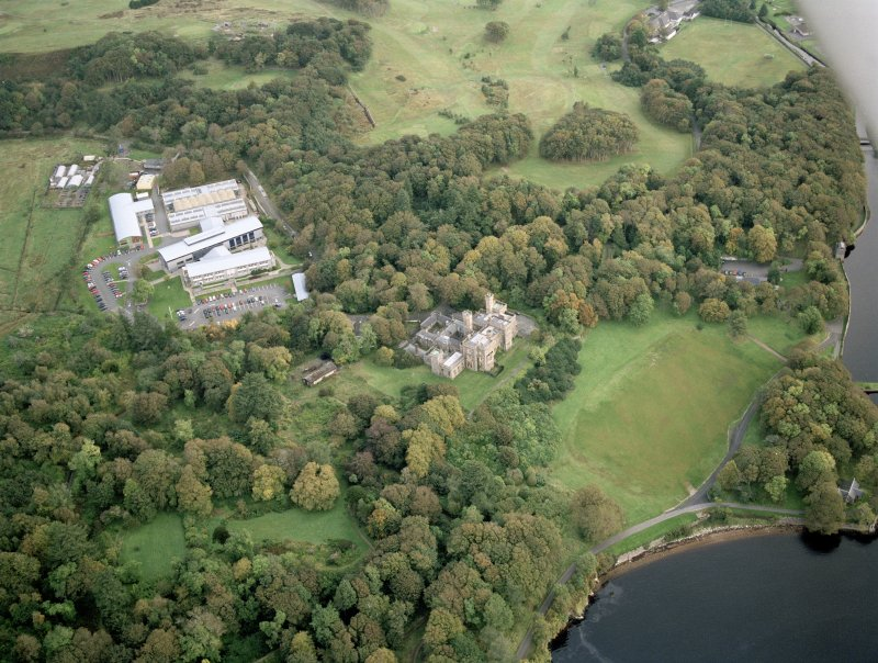 Scanned image oblique aerial view centred on the country house and college, taken from the S.