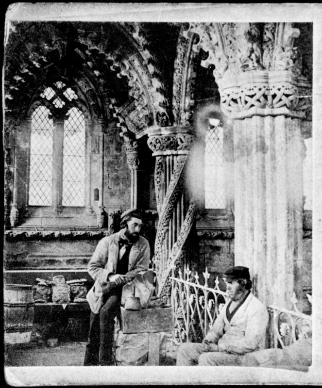 Roslin, Roslin Chapel. Historic photograph showing view of chapel, interior, photographed during restoration with workmen.