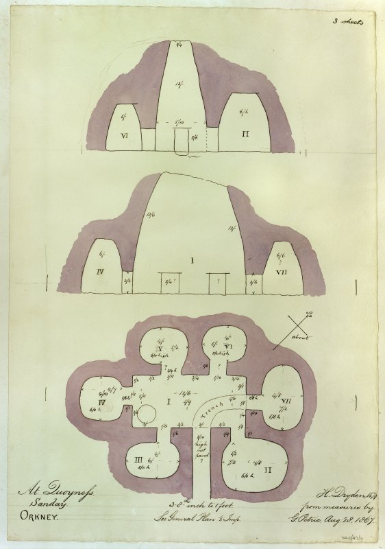 Drawing showing plan of chambers; section looking NW; section looking NE H. Dryden from measures by G. Petrie 1867