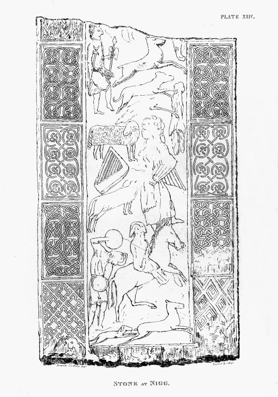 Drawing of the lower portion of the reverse of the Nigg cross-slab. From C Petley (1857), 'A short account of some carved stones in Ross-shire', Archaeologica Scotica, 4.